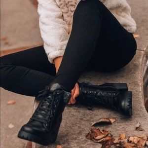 BAMBOO Shoes - Black teddy knit cuff combat bootie